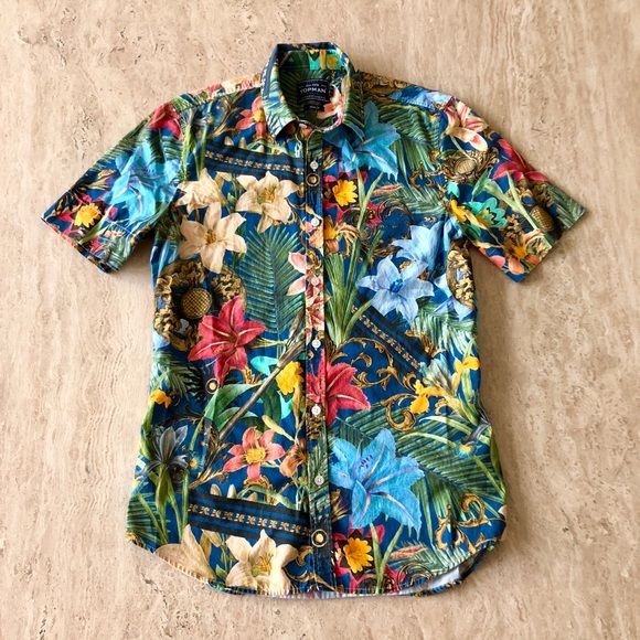 9a83b238b809 Men s Floral Abstract Button Down Shirt! M 5ad39d9b1dffda0526fcaff0